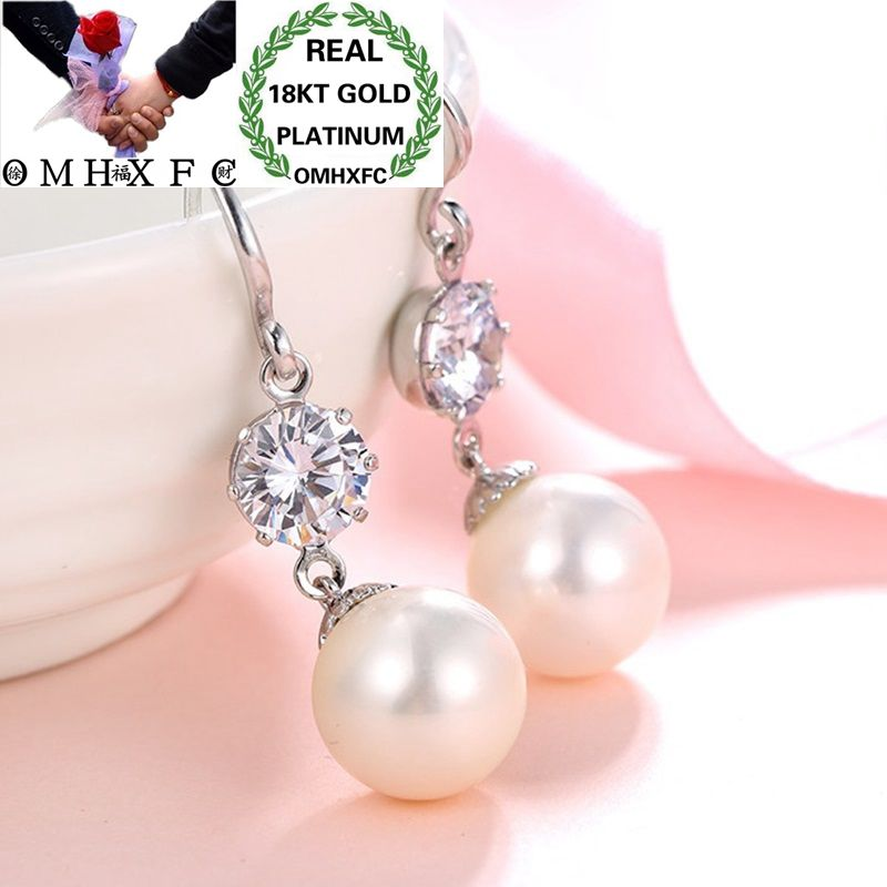OMHXFC Wholesale European Fashion Woman Girl Party Birthday Wedding Gift Pearl AAA Zircon 18KT White Gold Drop Earrings EH184