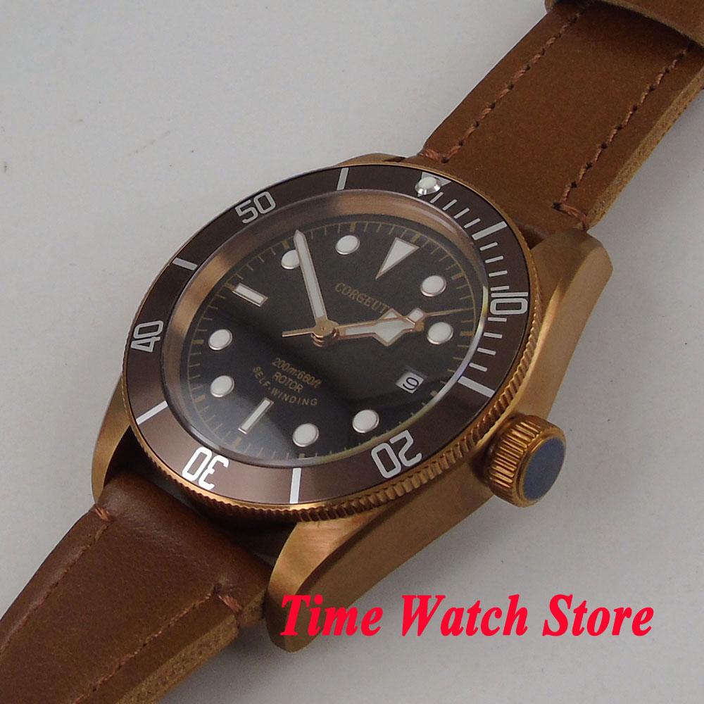 CORGEUT 41 มม. นาฬิกาผู้ชายสีดำ dial sapphire แก้วทองแดงเคลือบอัตโนมัตินาฬิกาข้อมือผู้ชาย cor5-ใน นาฬิกาข้อมือกลไก จาก นาฬิกาข้อมือ บน   2