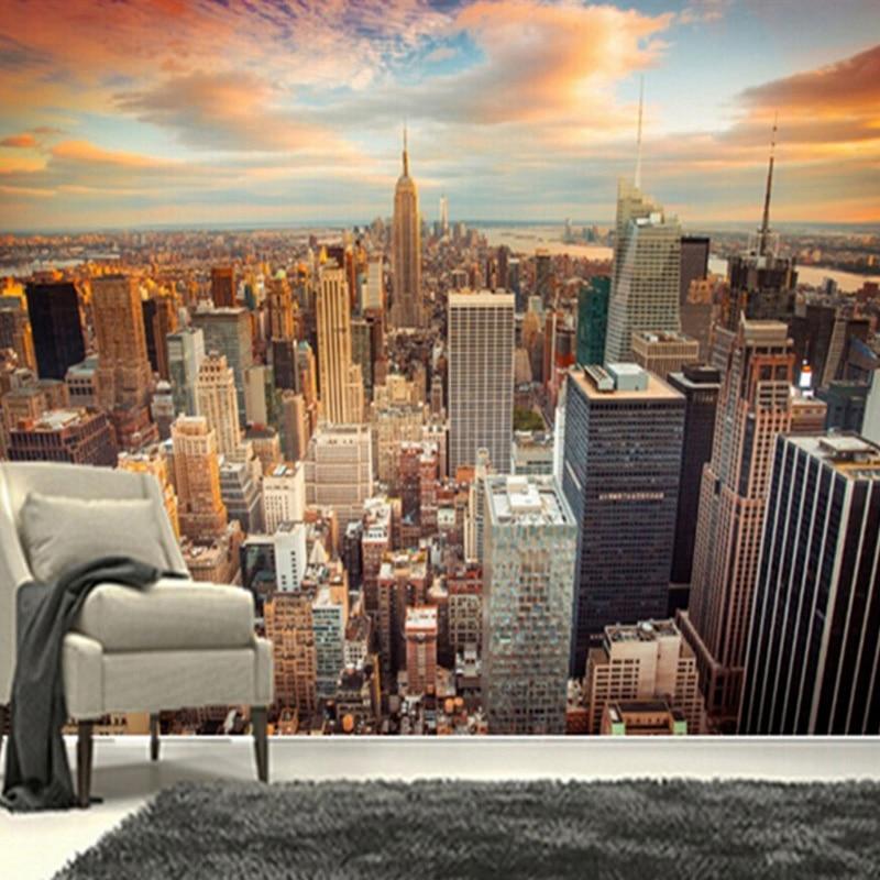3D Wallpaper Modern Sunset New York City Building ...