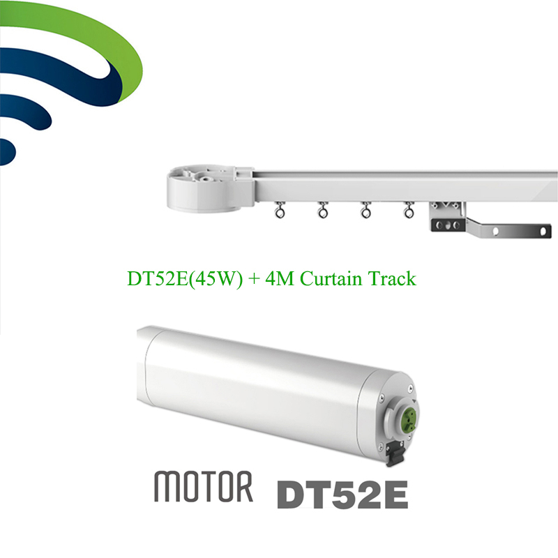 Dooya Electric Curtain Track  System DT52E 45W Curtain Motor With Remote Control+4M Motorized Aluminium Curtain Rail Tracks