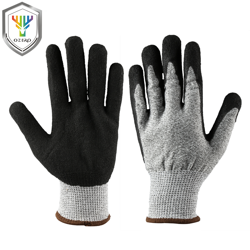 OZERO New Work Gloves Rubber+Nitrile Men Welding Working Gloves Safety Protective Garden Sports MOTO Wear-resisting Gloves 0001 strong 0 35mmpb medical x ray protective gloves ray workplace use gloves lead rubber gloves