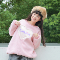 heart love lace thick faux lamb hair pullover sweet kawaii sweatshirt