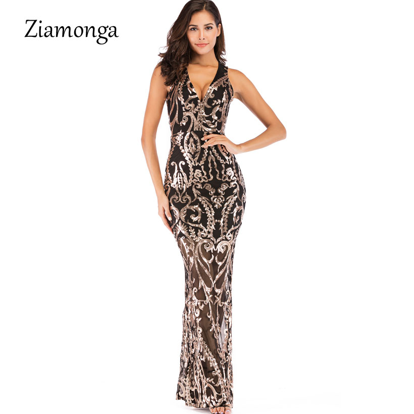 Detail Feedback Questions about Ziamonga Evening Long Dress Sparkle 2019 V  Neck Women Elegant Dresses Sequin Mermaid Maxi Evening Party Gown Dress  Sexy ... a83ea41d74ba