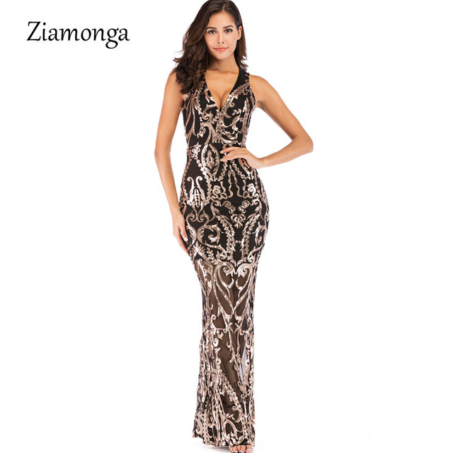 Ziamonga Evening Long Dress Sparkle 2019 V-Neck Women Elegant Dresses  Sequin Mermaid Maxi Evening 4f23fda95e8d