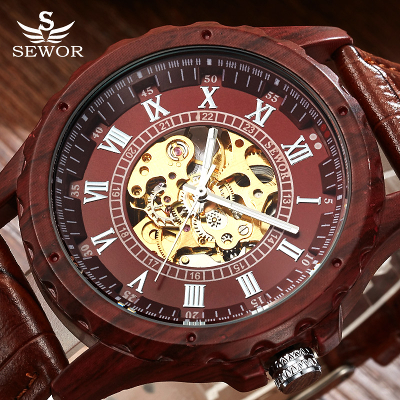 SEWOR Top Brand Luxury Skeleton Automatic Mechanical Watch Men Watch Retro Mahogany Wood Leather Watches Relogio Masculino кольцо из золота r 62982