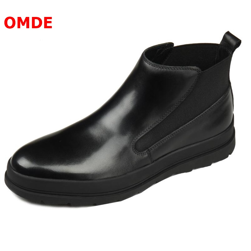 OMDE British Style Black Round Toe Genuine Leather Boots Men Fashion Autumn Ankle Boots Handmade Men's chelsea boots Casual Shoe