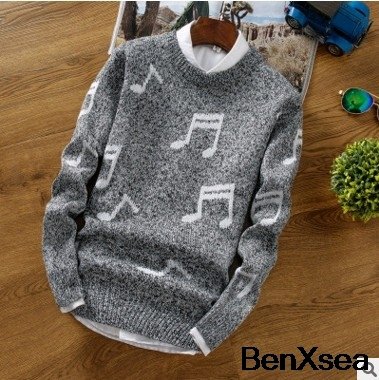 2018 Korean Style Music Crewneck Luxury Sweaters Fashion Designer Casual Sweater Men