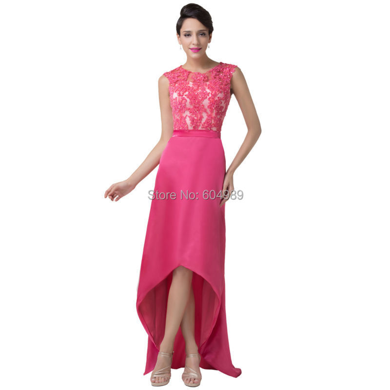 Elegant Sleeveless Deep Pink Satin Lace Evening Dress See Through ...