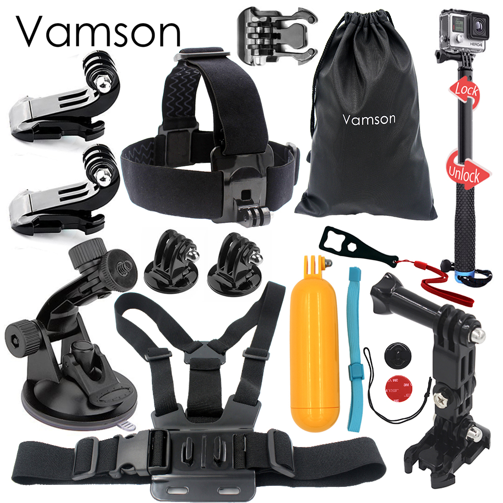 Vamson for Gopro Accessories 3 way Monopod Head Strap For Gopro Hero 5 4 3 For Xiaomi for yi for SJ4000 for EKEN H9r VS04