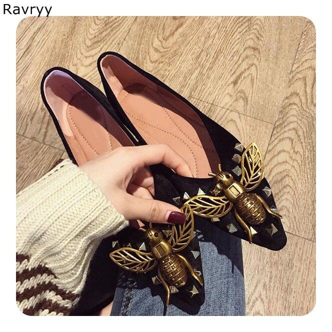 Chic bronze Bee Decoração Da Mulher sapatos flats 2018 Dedo Apontado slip on sapatos femininos V aberto em forma design elegante sapatos casuais - 2