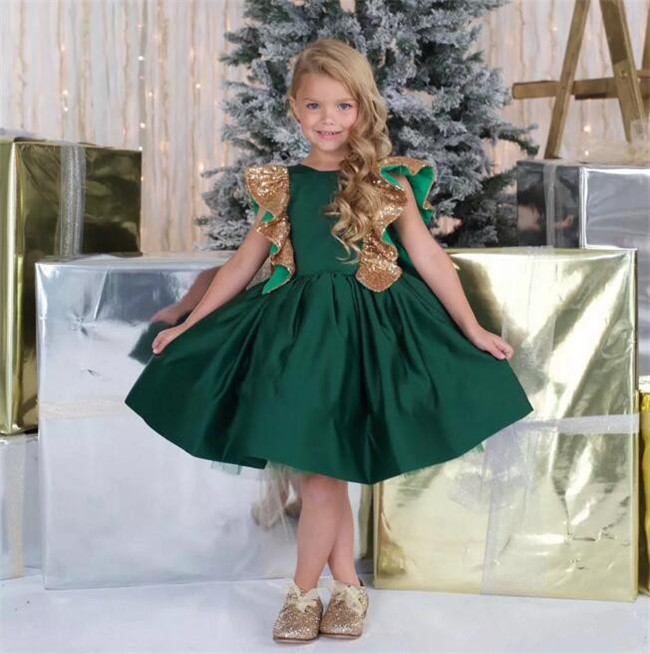 Emerald Green New Little Girls Birthday Dress Knee Length with Sequins Bow Flower Girl Dress for Wedding Customized Girls Gown vintage emerald green backless flower girl dress with golden sequins knee length short baby 1 year birthday gowns with big bow