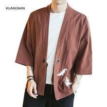 Männer Baumwolle Leinen Strickjacke Jacke China Stickerei Männlichen Mode Lässig Kurzarm Oberbekleidung Kimono Mantel