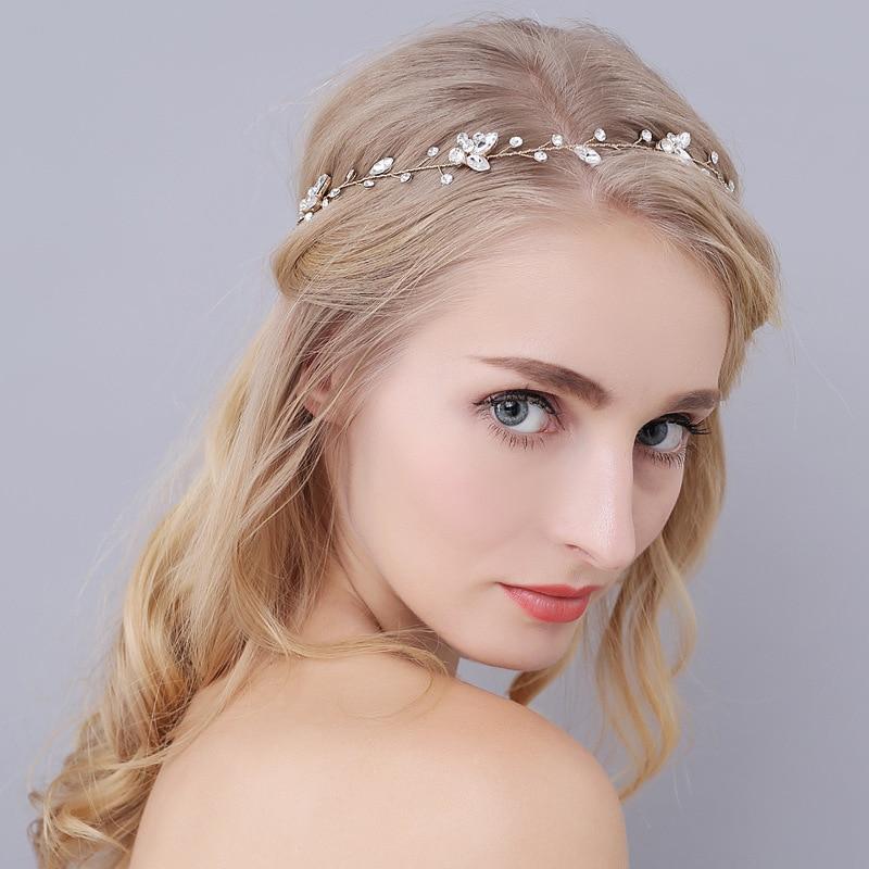 SLBRIDAL Vintage Kristal të Qarta, Të Qarta, Dasma, Flokë Martese, - Bizhuteri të modës - Foto 2