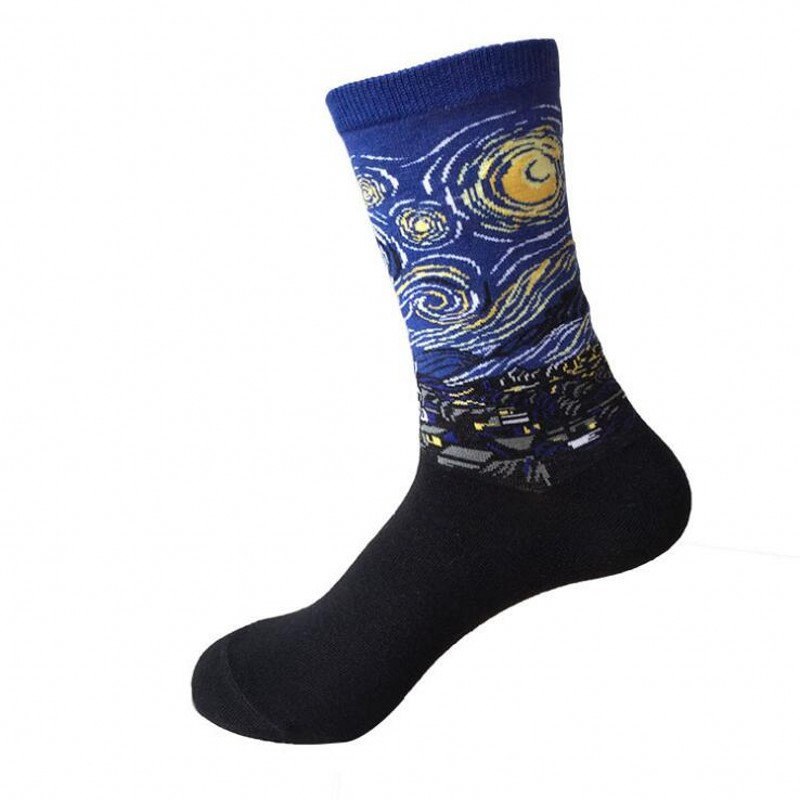 Funny Socks Modern Renaissance Men Art Socks Skateboard Cotton Van Gogh Sokken 6 Pairs = 12 Pieces Chaussette Meias Starry Night