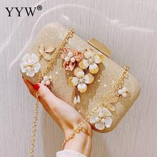 YYW Flower Abs Clutch Bag Elegant Evening Party Bags With Rhinestone Plastic Pearl Floral Prom Purse Handbag Wallet for women