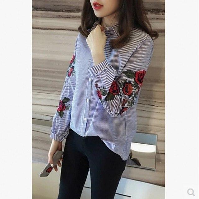 À Femme Longues 2017 Printemps Chemise Bande Manches Vêtements OqPw5aE5