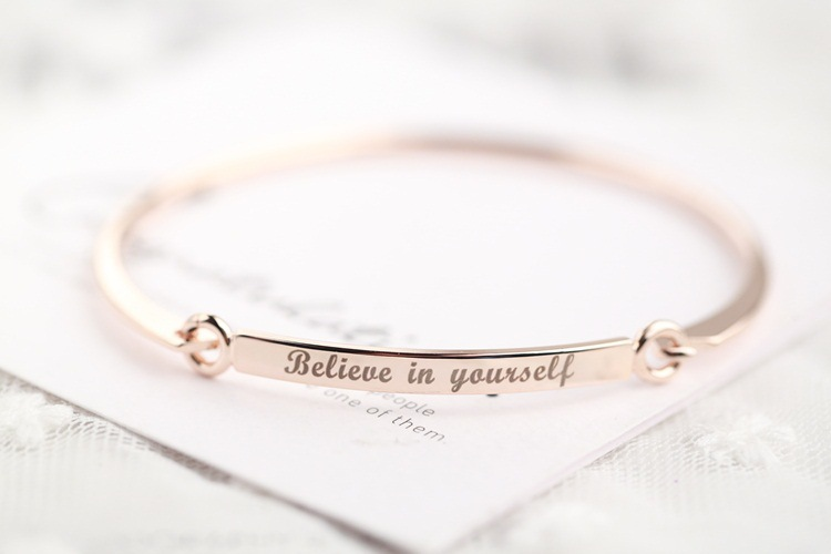 """""""Believe in yourself """" Inspirational Bangle AliExpress Best Selling Fashion Jewelry Wholesale Price YP2281"""