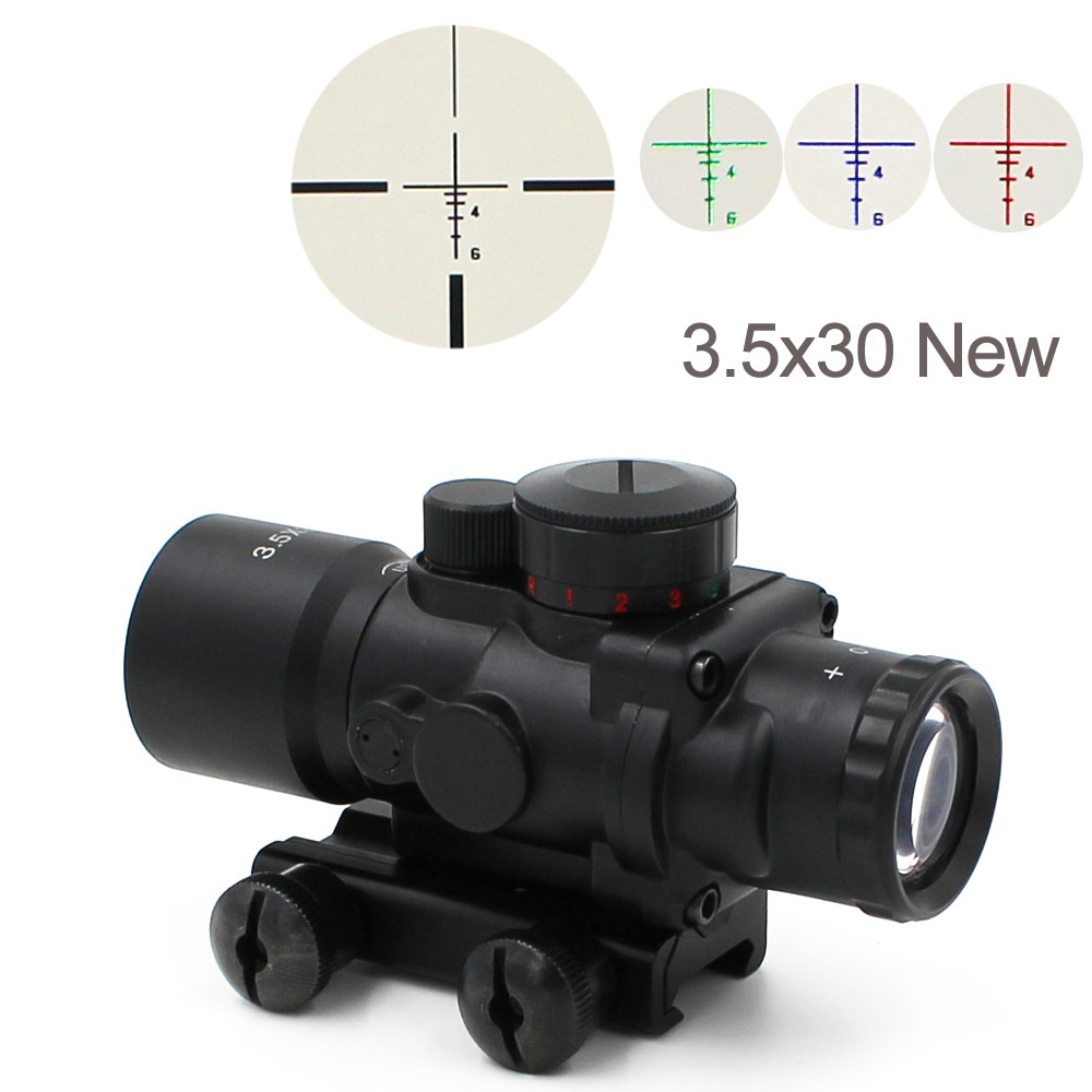 Free Shipping Tactical 3.5X30 RGB Laser Sight Dot Red Tri-Illuminated Combo Compact Scope Fiber Optics Green Sight