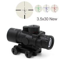 Free Shipping Tactical 3.5X30 RGB laser sight dot red Tri Illuminated Combo Compact Scope Fiber Optics Green Sight