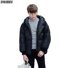 GYMLOCKER Slim Fit parka Mens Winter Warm Hoodies Hooded Long Sleeve Down Zipper Outwear Overcoat Parka Men clothes S-3XL