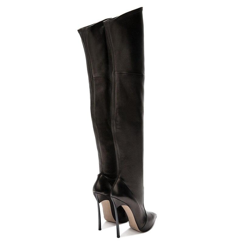 10cm Cuisse Sur Cuir Femmes Bottines En Mince Talon Haute Pointu Bout Couture 2018 Bottes Noir Slip Botas Chaussures Sexy Hiver Femme Peluche Courte qzBwWpTA