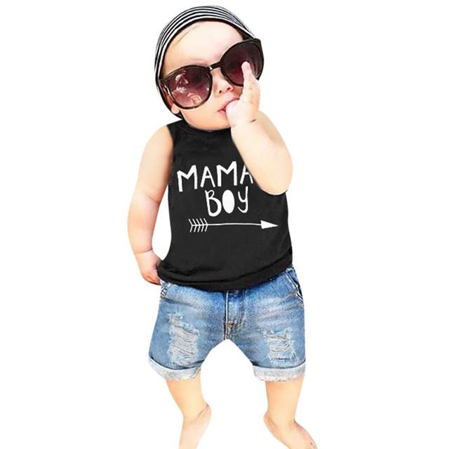 Toddler Baby Boys Letter Print Vest Tops+Hole Denim Jean Shorts Outfits Yenidogan Bebek Giyim  Vetement Enfant Garcon