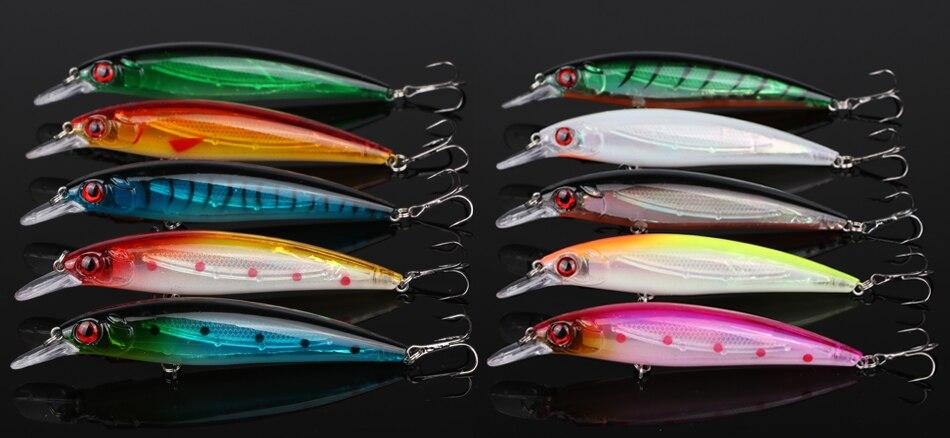 Lot de 10 Leurres Minnow Crankbait 11cm/13.5g de couleurs différentes, 1 à 2 m
