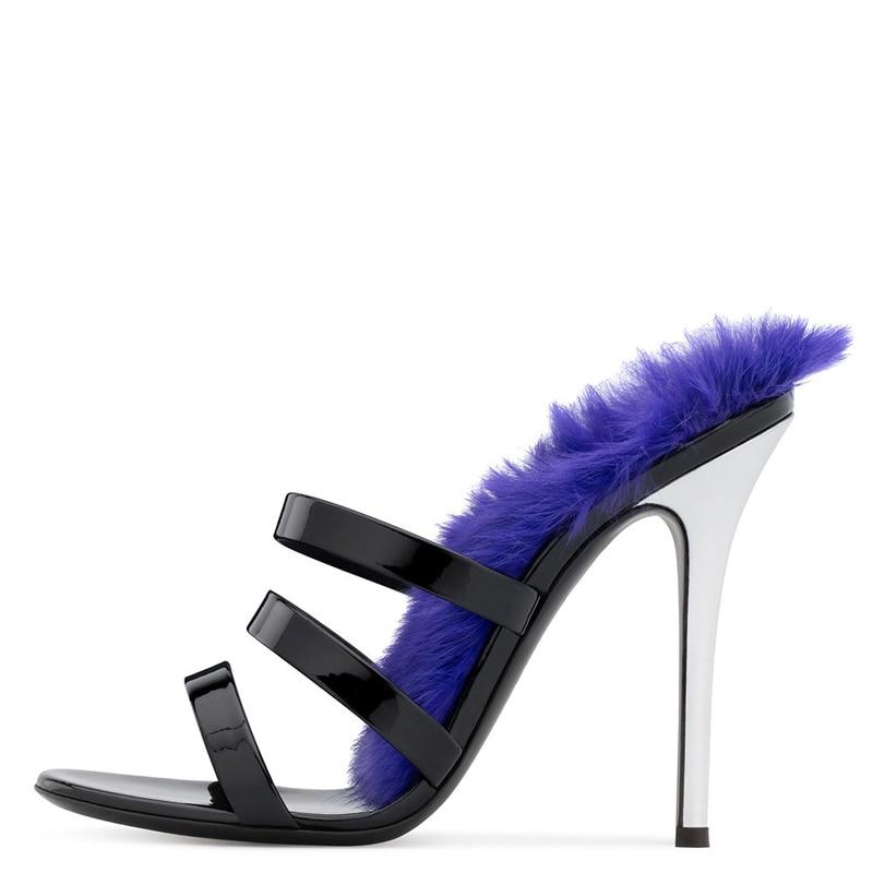 Verni Chaussures Pointu Femme Air Brillant Scène Plein Femmes Hauts Pompes Black Cuir Partie Bout Pantoufles Talons Stiletto En De Glisser Mules Fourrure w0REnOxRUa