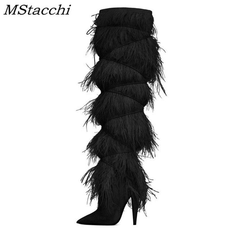 MStacchi 毛皮の羽カバースエードニーハイブーツ女性とんがりタッセルハイヒール革のオートバイのブーツ滑走路冬の靴女性  グループ上の 靴 からの 膝上 ブーツ の中 2
