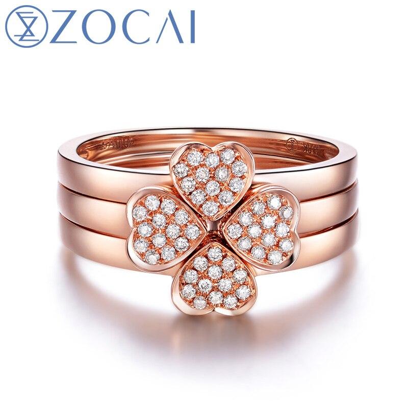ZOCAI 3 шт. кольцо 18 К розовое золото 0.17 карат кольцо с бриллиантом 1  бантом форму кольца с бриллиантом и 2 сердце кольцо с бриллиантом в форме . 706a9a98648