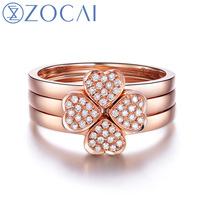 ZOCAI 3 PCS RING CLOVER SHAPE 18K ROSE GOLD 0 17 CT DIAMOND RING 1 BOWKNOT