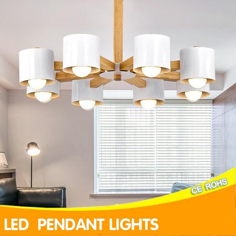 Kaguyahime Nordic chandelier lighting LED BULB E27 With Iron Lampshade For Living Room Suspendsion Light Fixtures Lustre Wooden цена в Москве и Питере