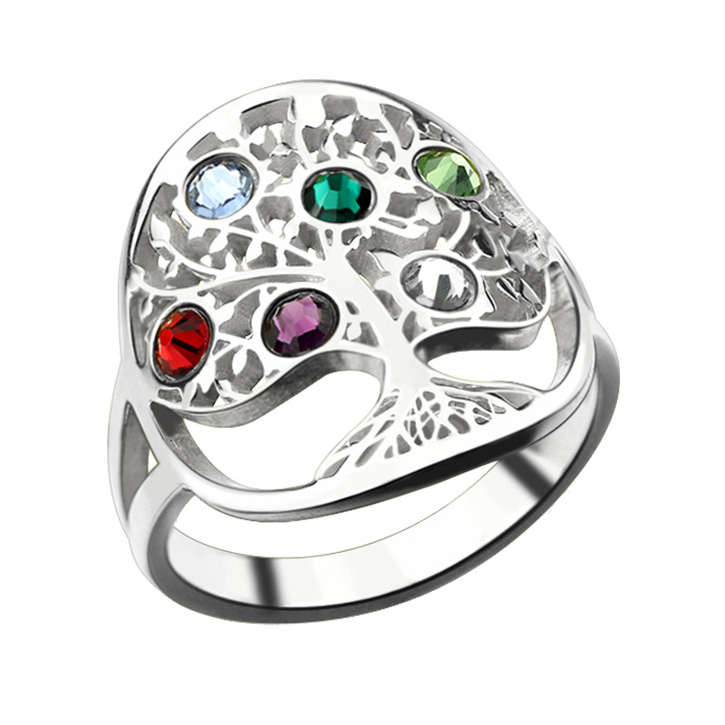 AILIN Tree of Life Ring Sliver Birthstone Ring Sterling Silver Family Tree Ring Custom Mother's Ring ailin engraved family tree birthstone ring cage ring family ring for mom eternity ring rose gold color