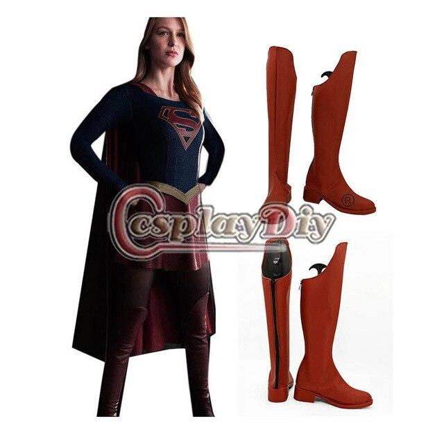 El Flash Supergirl Cosplay Botas de Las Mujeres Adultas Zapatos de Cosplay Por Encargo de Halloween Carnaval D0426
