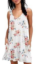 Ladies Vest Sundress New Casual Loose Dress Summer Dress Women's Sleeveless With Pockets Floral Print Dress