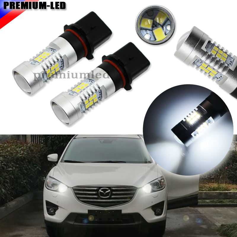 2pcs Error Free Canbus Xenon White 21-SMD-2835 P13W SH24W Replacement Bulbs For LED  For car Mazda CX-5 Daytime Running Lights deechooll 2pcs wedge light for mazda 2 3 5 6 mx5 rx8 cx7 626 gf gg ge gw canbus t10 57smd 6w led clearance xenon lighting bulbs