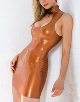 Summer dress Sexy Latex Girl Dress Brown Slim Tight Rubber Vestidos Club Wear Party Dresses Plus Size Hot Sale