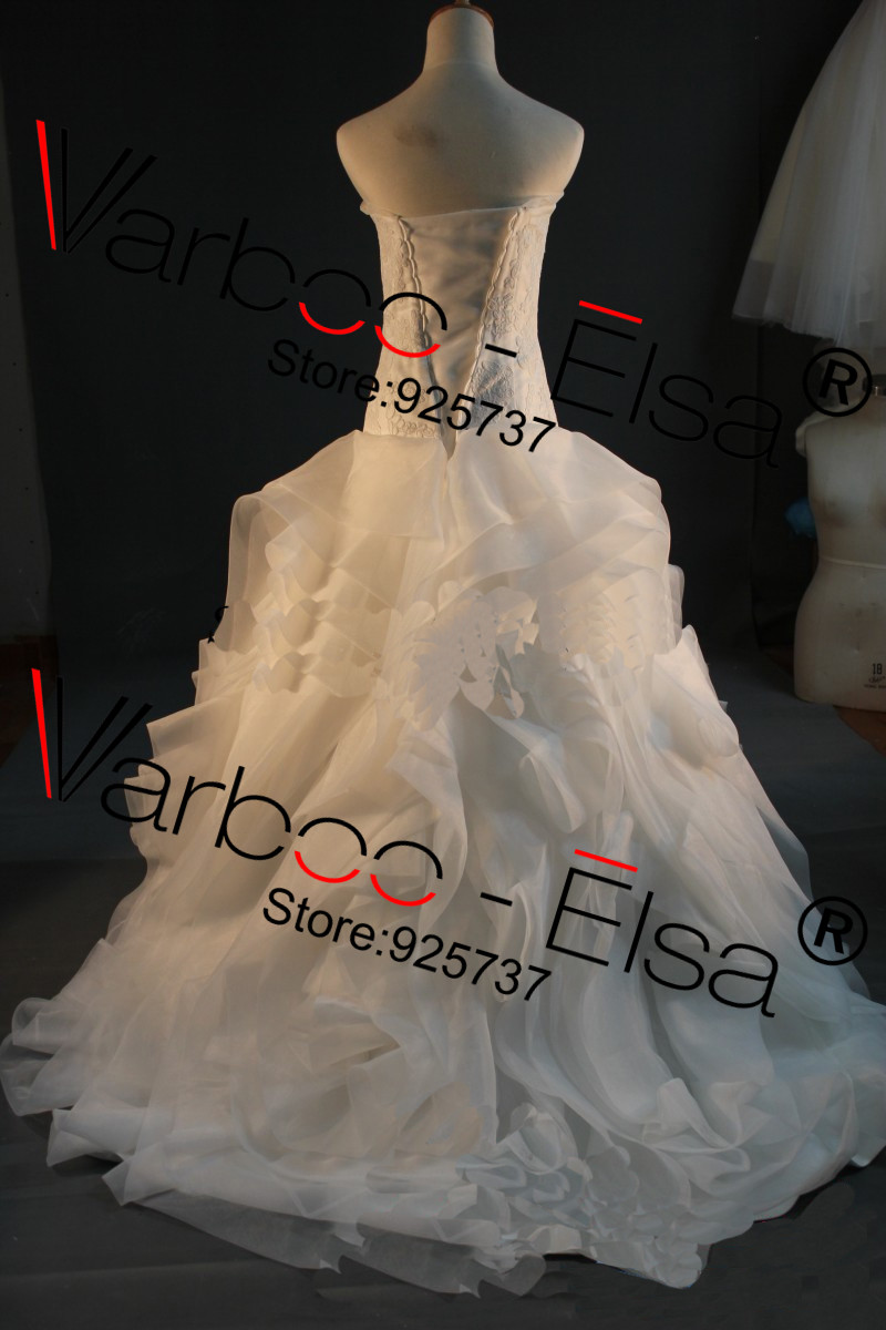 Image 5 - Free shipping Vera off shoulder Fluffy Organza Flower RufflesTop quality bridal Gown plus size Real sample Wedding Dress 2014gown evening dressgown beadeddress wedding gown -