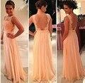 Vestido de las mujeres 2015 Nueva moda Sexy Vestido Halter de Encaje Y la Manera de Costura de La Gasa visten El Envío Libre