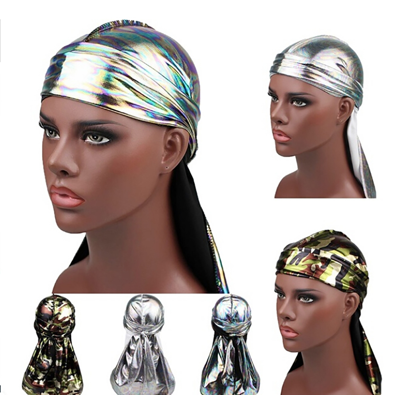 <font><b>Silk</b></font> Durag Satin <font><b>Men'S</b></font> <font><b>Durags</b></font> Wig Bandanna Pirate Hat Bandeau Hip Hop Head Wrap Elastic Headband image