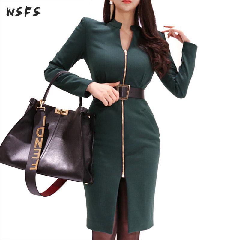 Printemps Midi robes vert Stand à manches longues femmes robe 2019 élégant bureau dames Sexy fête Bandage moulante enveloppement de crayon robe