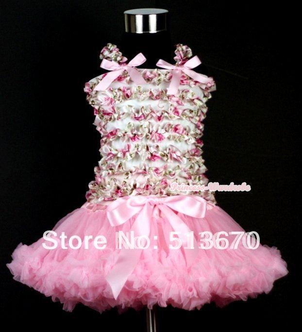 ФОТО light pink pettiskirt with rosettles print ruffles tank top mamr199