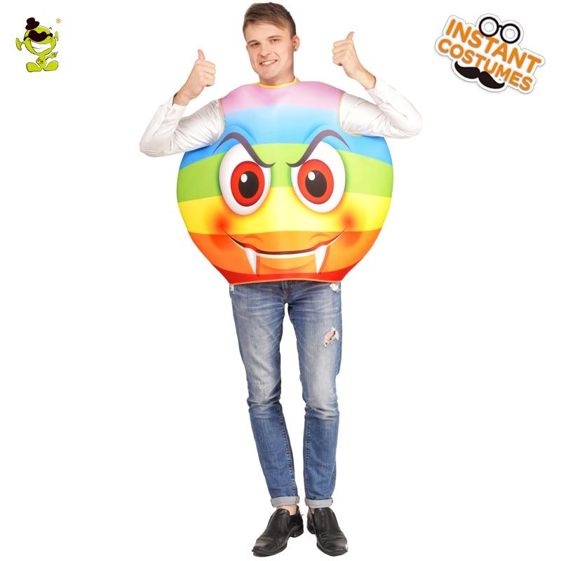 Adult Unisex Emoticon Colorful Devil Cosutme Performance Purim Party for Emoji Devil Costume