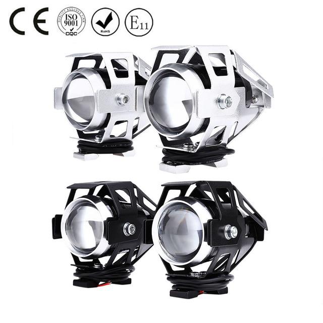 2 Stks U5 LED Motorfiets Koplamp Grootlicht Transformeren Spotlight 3000LM 12 V Hoge Helderheid Moto Fog Head lamp met schakelaar
