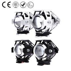 2Pcs U5 LED Motorcycle Headlight High Beam Transform Spotlight 3000LM 12V High Brightness Moto Fog Head lamp with Switch