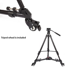 YUNTENG VCT998 Fluid head professional tripod Video camcorder with VCT900 3 Wheels Pulley Universal Folding Dolly Base Stand