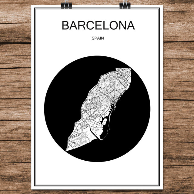 World city street map barcelona spain print poster abstract coated paper bar cafe living room home