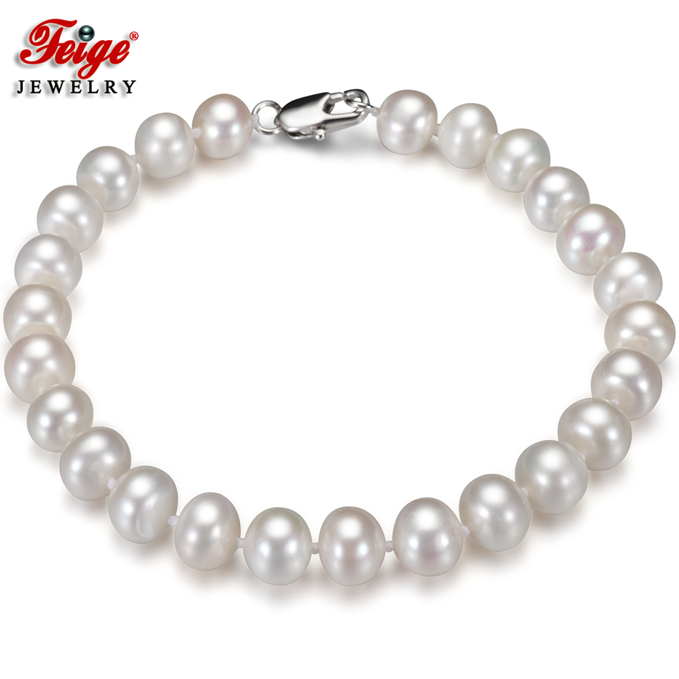 Fashion Natural 9-10mm Freshwater Pearl Beads White Gold Plated Jewerly Bracelet