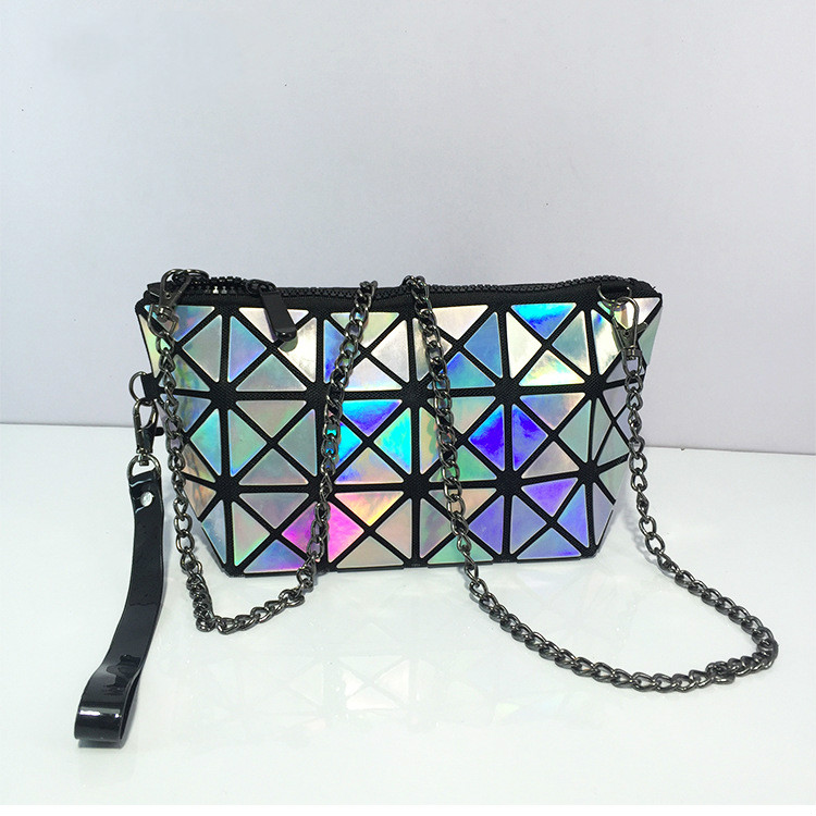 The new fashion geometric diamond folding bag laser clutch shoulder bag women Crossbody Bags