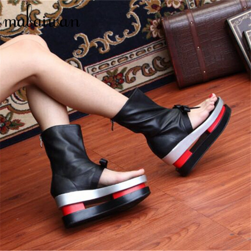 2017 New Fashion Black Women Summer Boots Genuine Leather Platform Shoes Woman Bowtie Creepers Gladiator Wedges Ankle Booties phyanic summer style shoes woman 2017 new gladiator sandals platform flats fashion creepers women flat shoes 3 colors phy4044